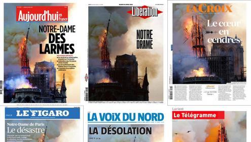 """EN IMAGES. """"Notre histoire en cendres"""" : la presse française et internationale évoque le """"désastre"""" après l'incendie de Notre-Dame de Paris"""