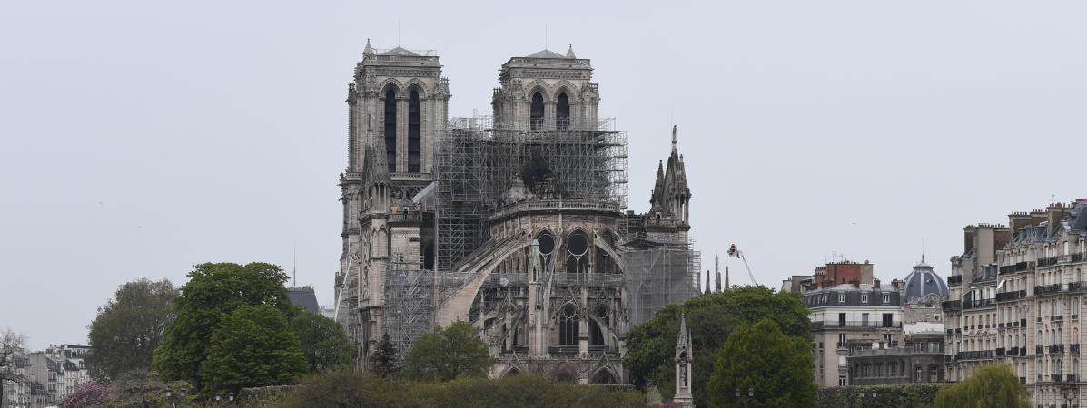 La cathédrale Notre-Dame de Paris après l\'incendie, le 16 avril 2019.