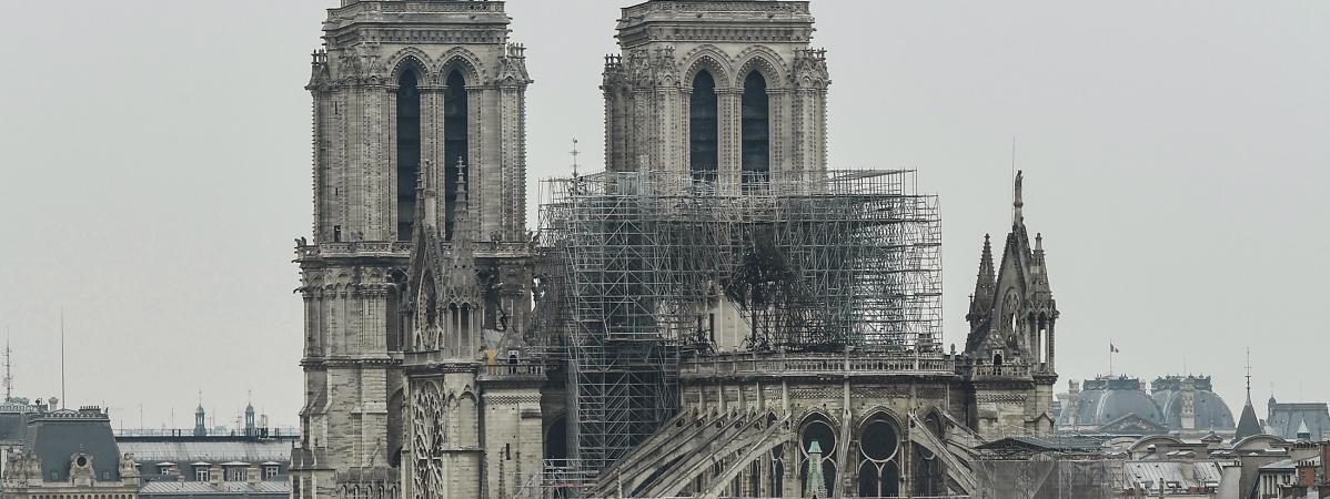 Notre-Dame de Paris, le 16 avril 2019, au lendemain de l\'incendie.