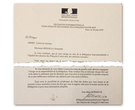 Extraits de la lettre de mission destinée à Alexandre Benalla, signée par Jean-Marc Mormeck.