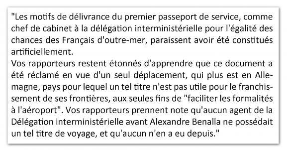 """""""Les motifs de délivrance du premier passeport de service […] paraissent avoir été constitués artificiellement"""". Extrait du rapport d'information de la commission des Lois du Sénat."""