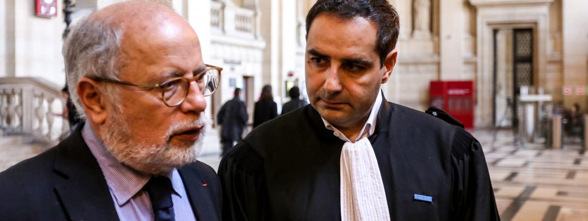 Samuel Sandler et son avocatMaitre Elie Korchia, en octobre 2017 à Paris.