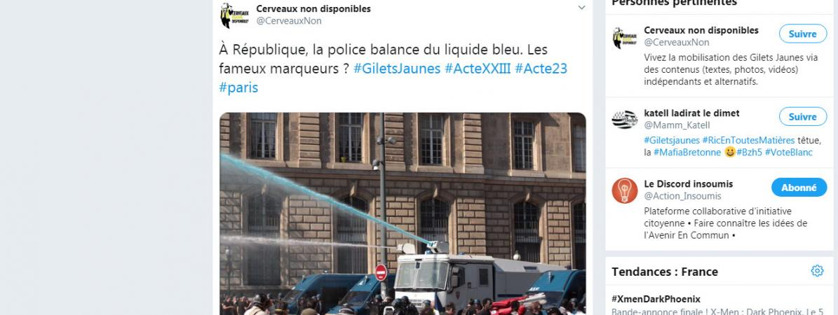 """""""Gilets jaunes"""" : à quoi sert le liquide bleu utilisé par les policiers contre les manifestants parisiens ?"""