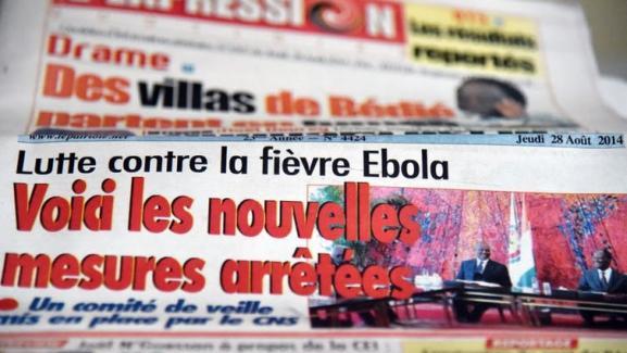 Ebola à la Une de la presse ivoirienne (ici en août 2014).