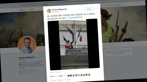 VIDEO. Forbach : Florian Philippot retire le drapeau européen du centre des impôts et reçoit une pluie de railleries