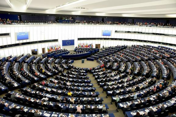 Les eurodéputés siègent au Parlement européen à Strasbourg (Bas-Rhin), le 16 avril 2019.