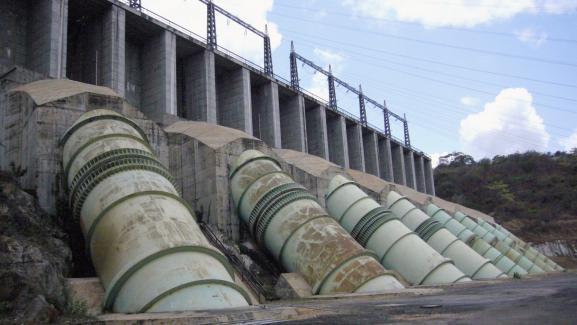 Vue générale du barrage Inga 1 en République démocratique du Congo.