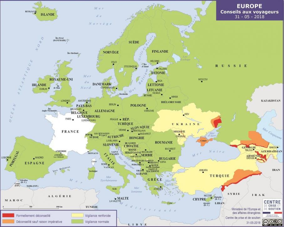 Carte des zones à éviter pour les voyageurs français,disponible sur le site duministère des Affaires étrangères le 12 mai 2019.
