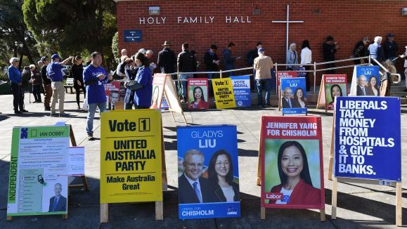 Des affiches électorales en Australie, le 7 mai 2019.