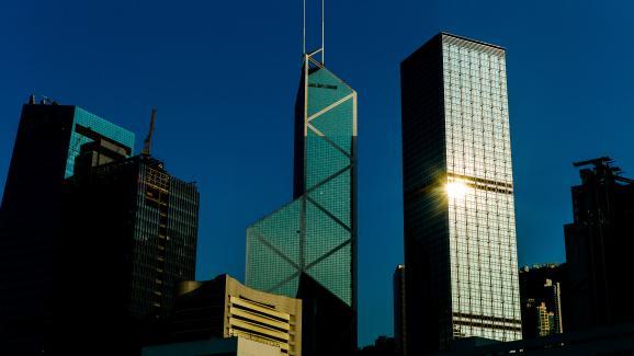 La Bank of China tower, conçue par l\'architecteIeoh Ming Pei, photographiée le 30 juillet 2012.