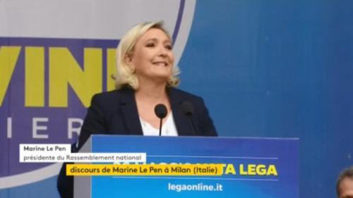 """VIDEO. En italien, Marine Le Pen appelle à """"la révolution du bon sens"""" avec Matteo Salvini"""