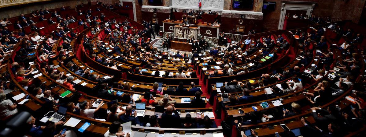L\'hémicycle de l\'Assemblée nationale, à Paris, le 31 juillet 2018.