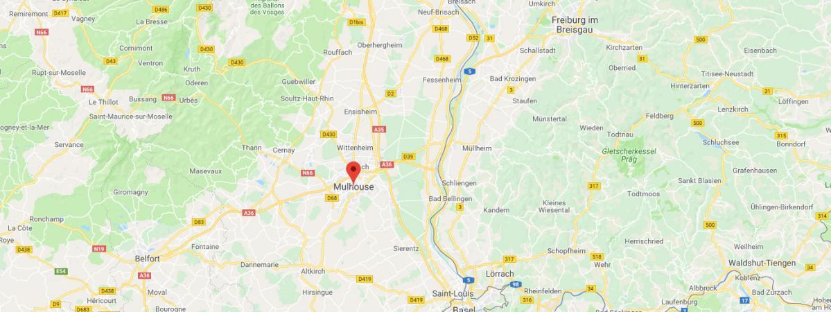 Mulhouse, dans l\'est de la France, près des frontières suisse et allemande.