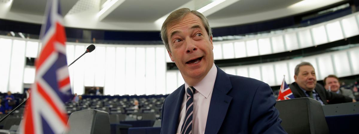 Le député européen birtannique Nigel Farage, chef du Brexit Party, le 27 mars 2019 dans l\'hémicycle du Parlement européen, à Strasbourg.