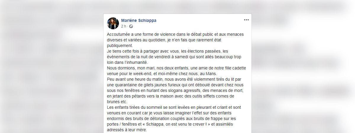 Post sur le compte Facebook de Marlène Schiappa, le 27 mai 2019.