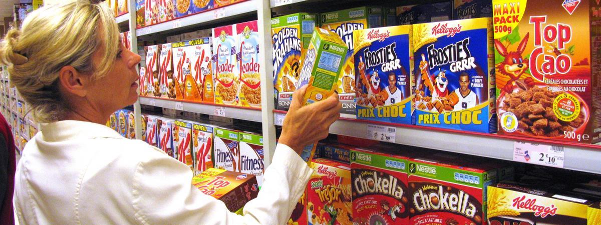 Des céréales ultra-transformées dans un supermarché. (photo d\'illustration)
