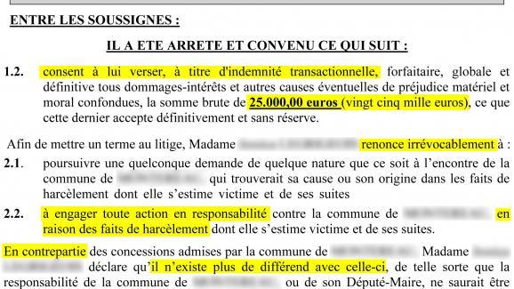 Exemple de projet de transaction refusé par une victime.
