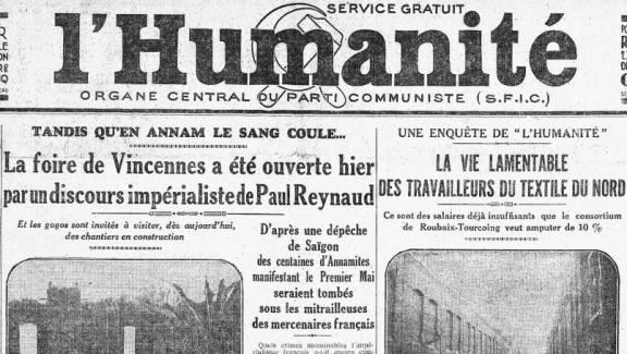 """La Une de \""""l\'Humanité du 7 mai 1931. Le quotidien communiste qualifie l\'exposition coloniale de \""""Foire impérialiste\""""."""
