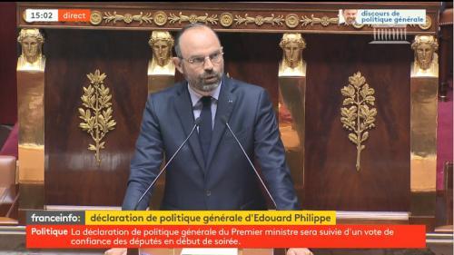 """DIRECT. """"Tous les produits en plastique jetables seront bannis de l'administration dès l'année prochaine"""", annonce Edouard Philippe devant les députés"""