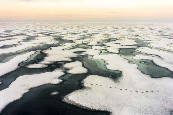 De la glace brisée dans le nord du Canada, le 4 mars 2019.