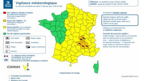 Météo: cinq départements d'Auvergne-Rhône-Alpes placés en vigilance orange pour risque d'orages