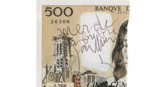 Un demi-billet de 500 francs signé Gainsbourg parti aux enchères pour 5000euros