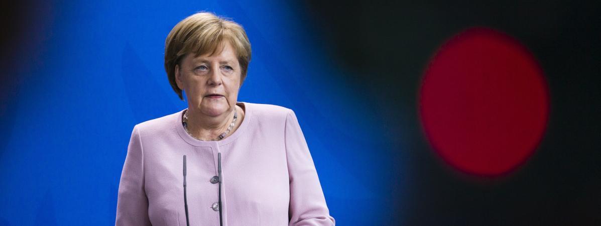 La chancelière allemande Angela Merkel, lors d\'une conférence de presse avec leprésident ukrainien Volodymyr Zelensky, le 18 juin 2019 à la chancellerie, à Berlin (Allemagne).