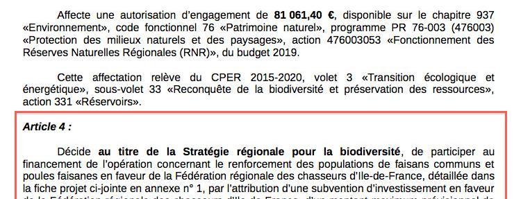 La région Ile-de-France offre-t-elle 57 000 euros de subvention aux chasseurs pour qu'ils achètent 5 000 fa...