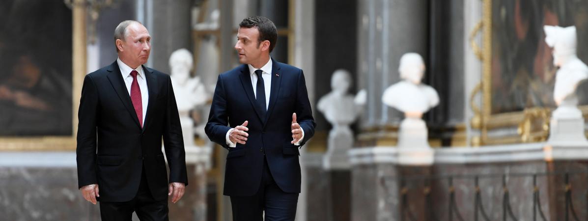 Vladimir Poutine et Emmanuel Macron, le 29 mai 2017 au château de Versailles (Yvelines).