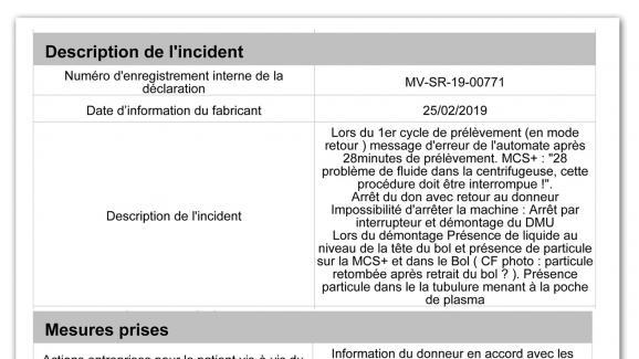 Rapport d\'incident à l'EFS Martinique le 25 février 2019 sur une machineHaemonetics.