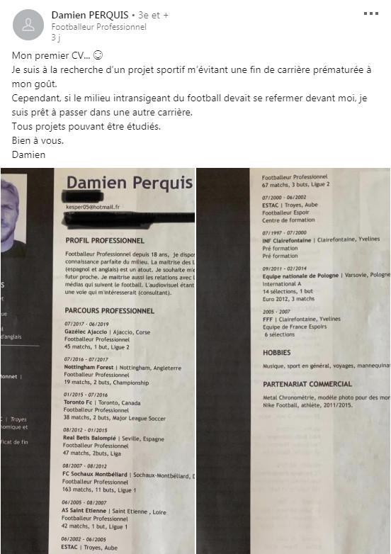 la m u00e9daille du jour  le joueur de football damien perquis