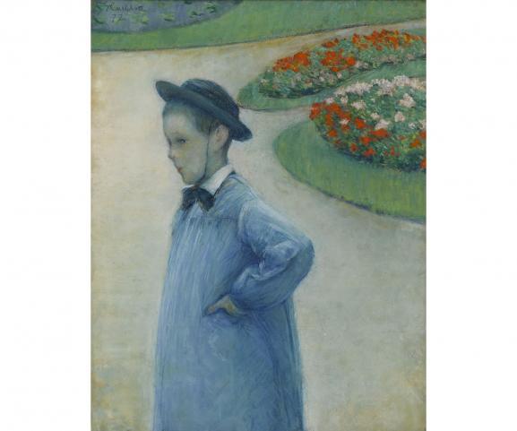 """Gustave Caillebotte, \""""Portrait de Camille Daurelle dans le parc d\'Yerres\"""", 1887, pastel sur papier, legs Marie-Jeanne Daurelle, 2019"""
