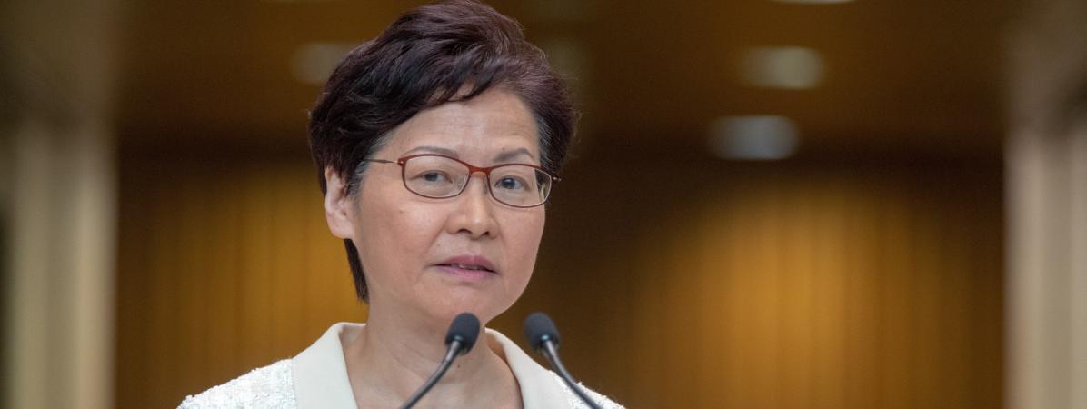 La cheffe de l\'exécutif hongkongais Carrie Lam à Hong Kong, le 3 septembre 2019.