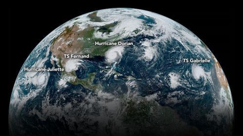L'ouragan Dorian et trois autres dépressions tropicales vus du ciel grâce à cette photo satellite de la Nasa