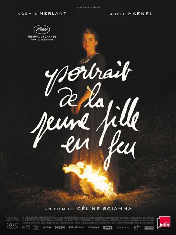 """l\'affiche de \""""Portrait de la jeune fille en feu\"""" de Céline Sciamma."""