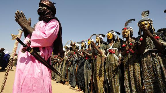 Les Touaregs réunis à In\'Gall dans le nord du Niger pour la Cure salée, le 25 septembre 2010.