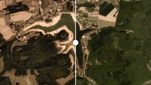 AVANT/APRES. Les dégâts causés par la sécheresse en France vus du ciel
