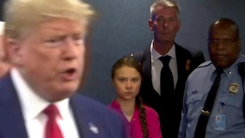 VIDEO. Climat : Greta Thunberg lance un regard noir à Donald Trump, l'image devient virale