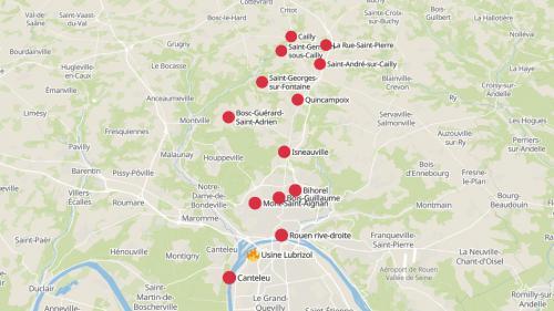 CARTE. Incendie à l'usine Lubrizol : découvrez les communes où les établissements scolaires et les crèches sont fermés