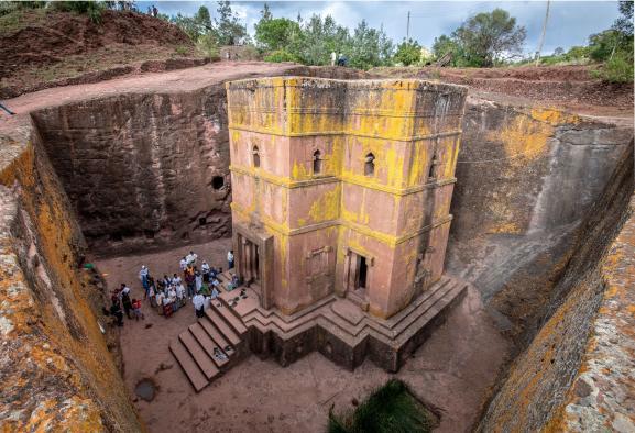 L\'église enterréeet taillée dans le roc de Bete Giyorgis (Saint-George) à Lalibela en Ethiopie le 22 mars 2019.