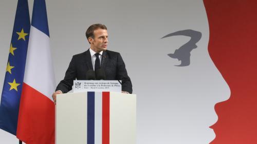 """VIDEO. Hommage à la préfecture de police: """"La nation tout entière doit se mobiliser et agir face à l'hydre islamiste"""", déclare Emmanuel Macron"""