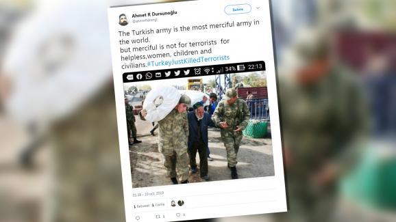 Un tweet daté du 10 octobre 2019 où l\'on voit un homme aidé par deux soldats. L\'image date en réalité de 2011.