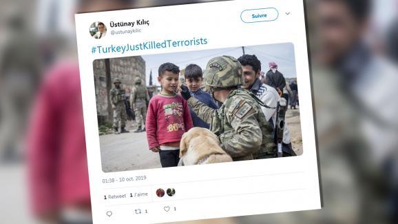 Un tweet daté du 10 octobre 2019 où l\'on voit un soldat bienveillant avec des enfants.