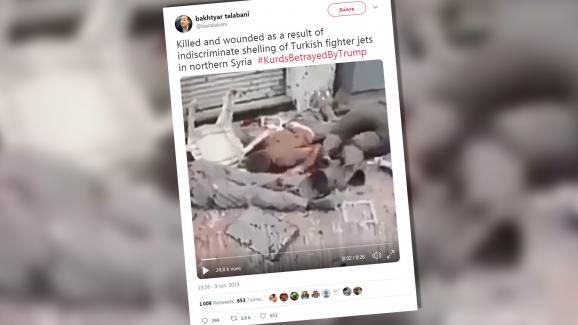Un tweet daté du 10 octobre 2019, qui monte en réalité l\'attentat du groupe Etat Islamique en Egypte en avril 2017.