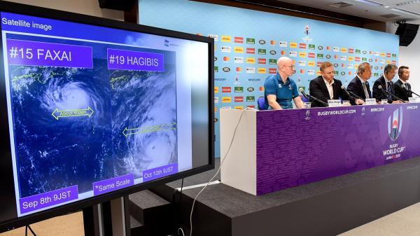 """Coupe du monde de rugby : le """"Crunch"""" Angleterre-France prévu samedi annulé en raison du typhon Hagibis"""