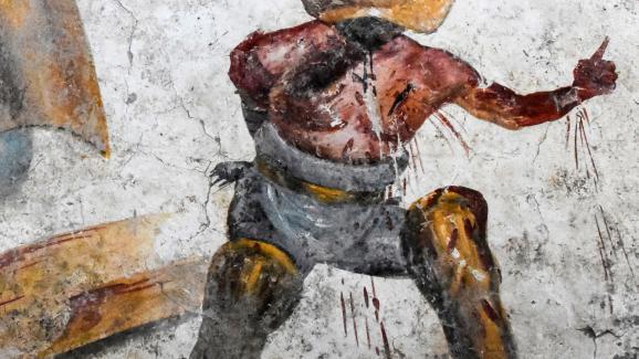 Détail d\'une fresque vieille de 20 siècles découverte à Pompéi.