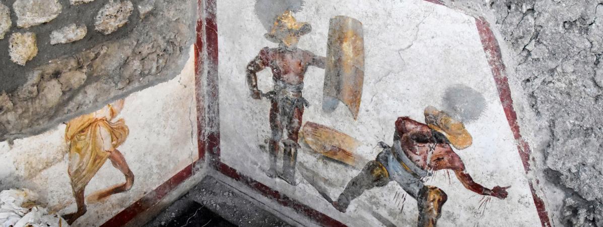 Une fresque ensevelie depuis 20 siècles découverte lors de fouilles dans un antique sous-sol de la ville de Pompéi.