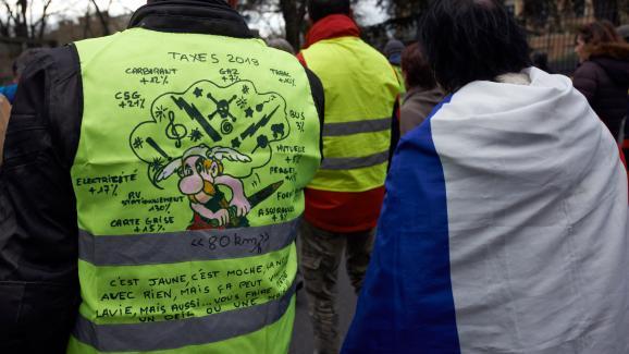Un gilet jaune décoré aux couleurs d\'Astérix, le 2 mars 2019, lors du 16e samedi de mobilisation, à Toulouse (Haute-Garonne).