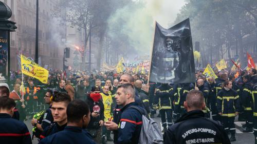 """Manifestations des pompiers à Paris : la préfecture annonce six interpellations pour """"violences et jets de projectiles"""""""