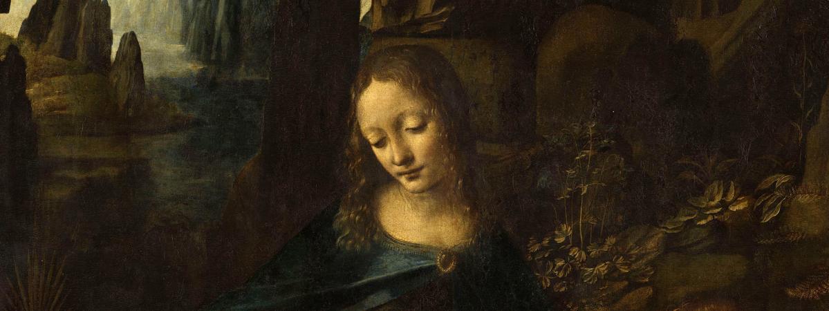 """Léonard de Vinci, \""""Vierge à l'Enfant avec saint Jean Baptiste et un ange\"""", dite \""""La Vierge aux rochers\"""", vers 1483-1494, Paris, musée du Louvre,département des Peintures"""